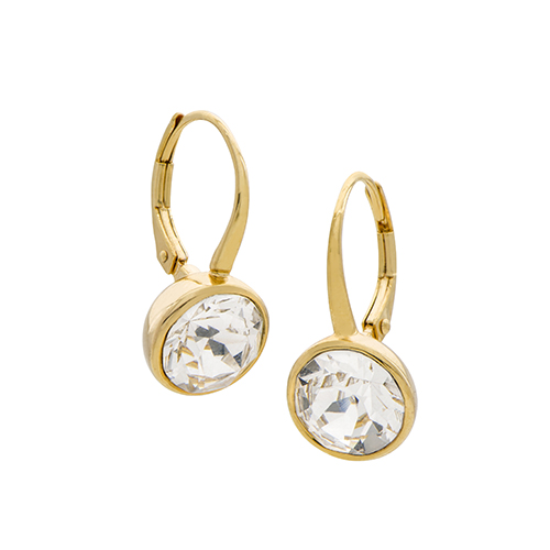 ER1016 Gold Leverback Earrings with Swarovski Crystals